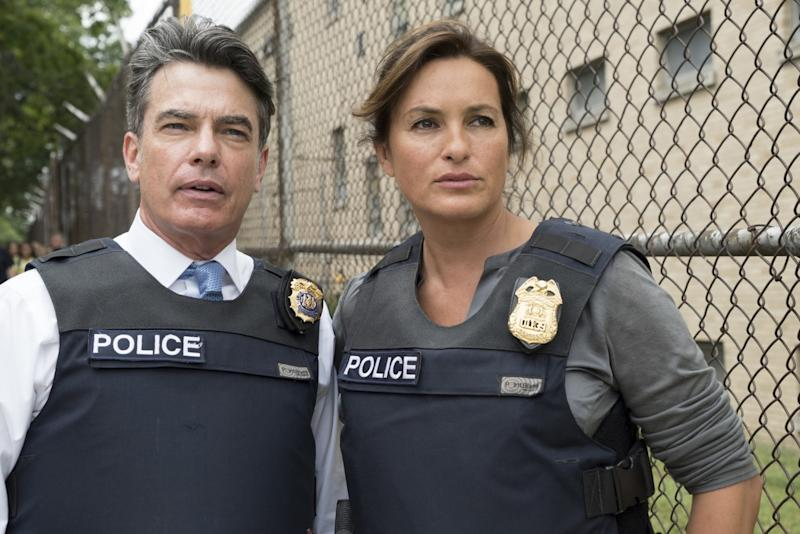 """Peter Gallagher as Deputy Chief William Dodds and Mariska Hargitay as Det. Olivia Benson in a scene from """"Law & Order: SVU."""""""