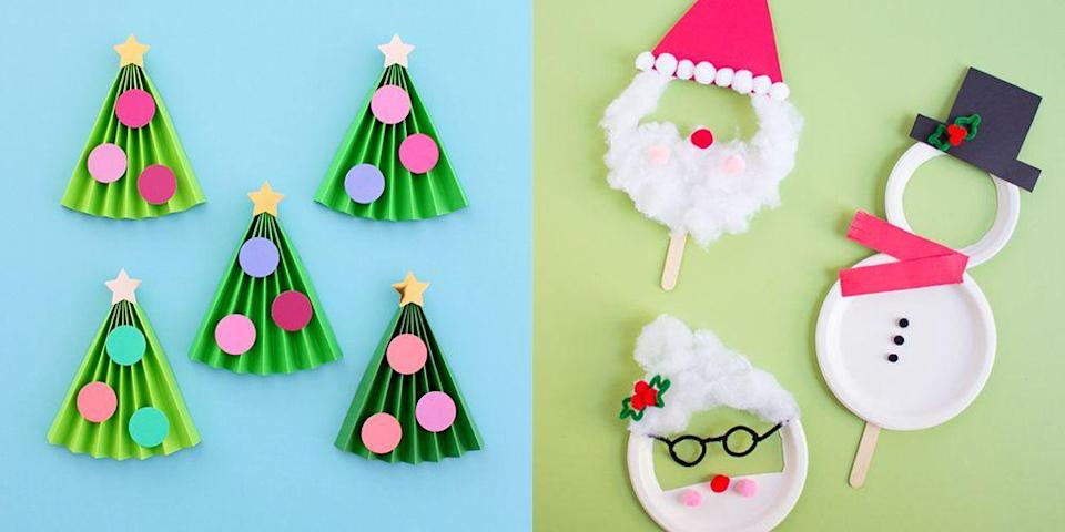 """<p>This holiday season, spend some quality time around the crating table with your brood. We gathered a collection of 15 cute and <a href=""""https://www.goodhousekeeping.com/home/craft-ideas/g2996/trash-to-treasure-christmas-crafts/"""" rel=""""nofollow noopener"""" target=""""_blank"""" data-ylk=""""slk:easy Christmas crafts"""" class=""""link rapid-noclick-resp"""">easy Christmas crafts </a>that are simple enough for kids to create (but fun enough that you'll want to get your hands messy and participate, too!). Think paper crafts, edible projects, <a href=""""https://www.goodhousekeeping.com/holidays/christmas-ideas/g4080/clever-diy-christmas-cards/"""" rel=""""nofollow noopener"""" target=""""_blank"""" data-ylk=""""slk:Christmas cards"""" class=""""link rapid-noclick-resp"""">Christmas cards</a>, and a whole array of charming ornaments and other festive decor items for decking the halls. Many of these require simple supplies you may already have at home, so break out the craft paper, felt, googly eyes, and plenty of cotton balls for Santa's famous beard, and let's get crafting. </p>"""