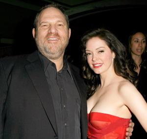 Harvey Weinstein (left) with Rose McGowan.