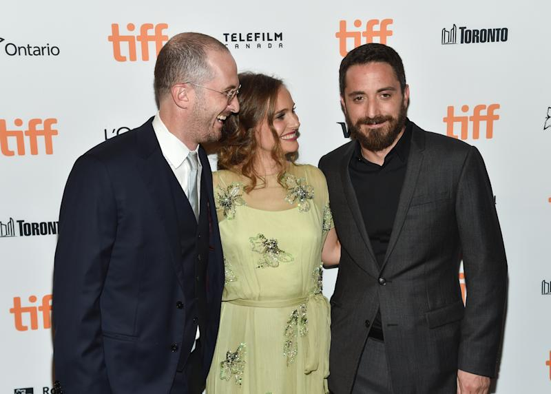 "Producer Darren Aronofsky, left, actress Natalie Portman and director Pablo Larrain attend the ""Jackie"" premiere on day 4 of the Toronto International Film Festival at [the Winter Garden Theatre on Sunday, Sept. 11, 2016, in Toronto. (Photo by Evan Agostini/Invision/AP)"