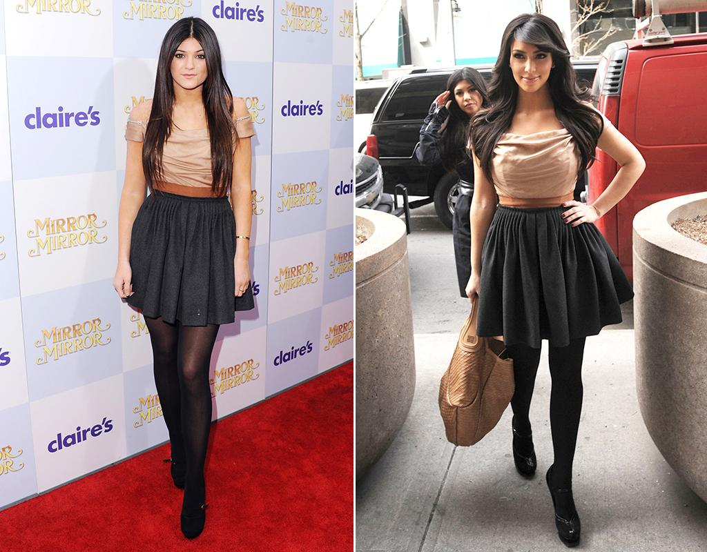 <b>Kylie Jenner vs. Kim Kardashian</b><br><br /><b>What they wore:</b> A nude and black, off-the-shoulder dress by Dolce & Gabbana.<br><br /><b>Judges's scorecard:</b> Kylie enjoys stealing not just her big sister's dresses, but her entire looks, right down to the tights, shoes, and hairstyle. Doesn't help her here, though, <br> <br />(3/17/2012 and 3/16/2009)