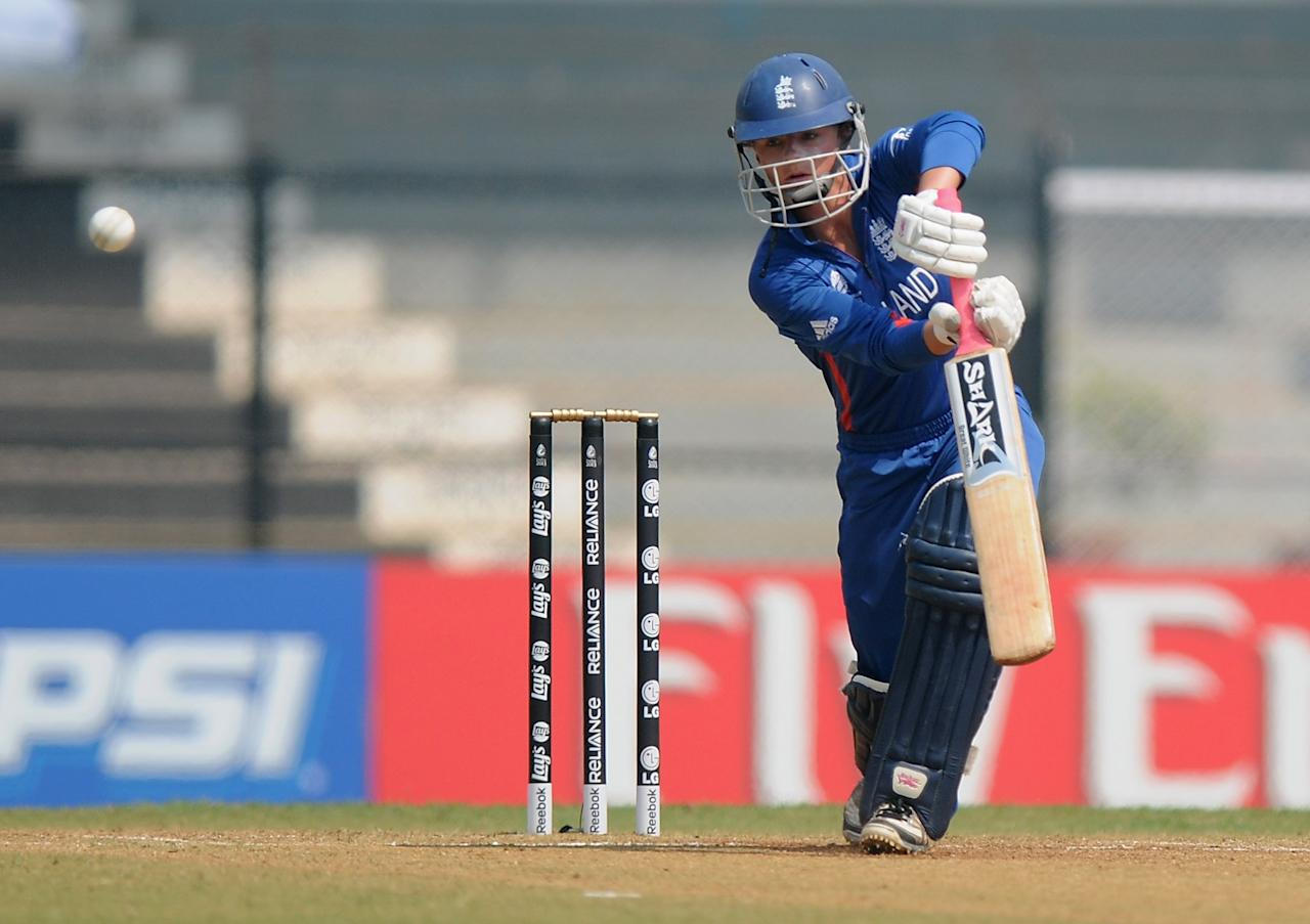 MUMBAI, INDIA - FEBRUARY 08:  Danielle Wyatt of England bats during the super six match  between England and Australia held at the CCI (Cricket Club of India)  on February 8, 2013 in Mumbai, India.  (Photo by Pal Pillai/Getty Images)