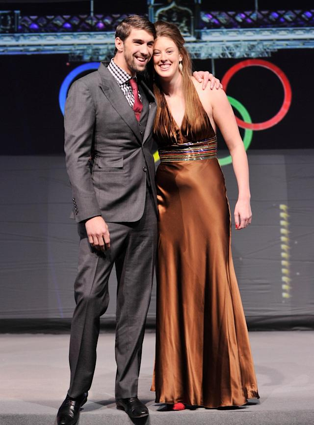 NEW YORK, NY - NOVEMBER 19: Olympic athletes Michael Phelps and Allison Schmitt attend the 2012 Golden Goggle awards at the Marriott Marquis Times Square on November 19, 2012 in New York City. (Photo by Stephen Lovekin/Getty Images)