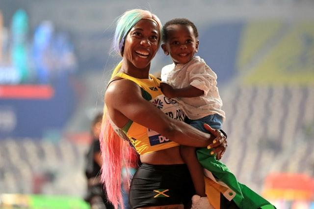 Shelly-Ann Fraser-Pryce celebrated her 100m gold in front of empty stands (Mike Egerton/PA)