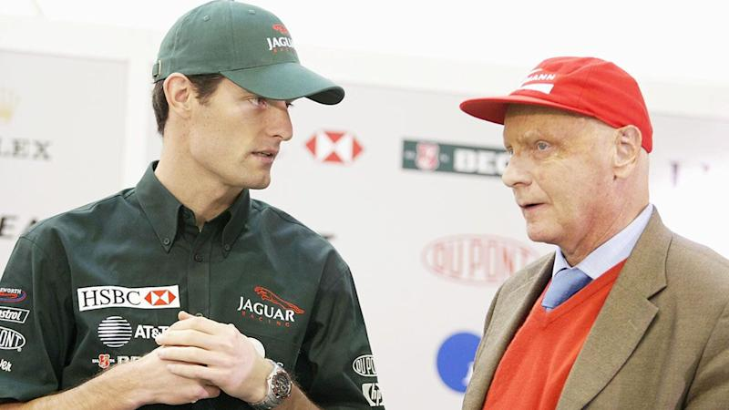 Mark Webber and Niki Lauda during their time working together at Jaguar in 2002.