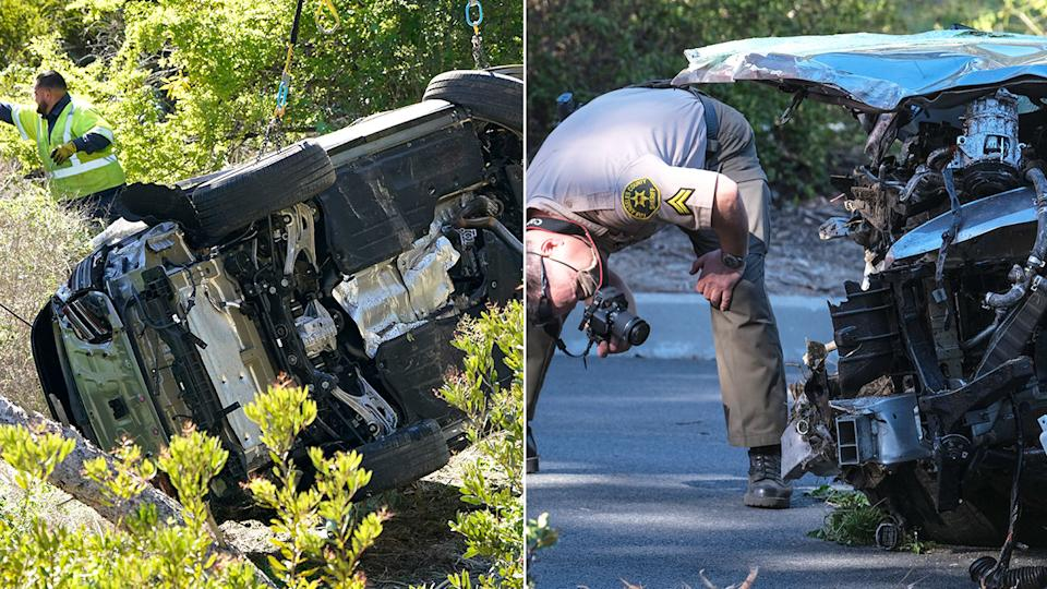 Pictured here, a local police officer inspects the damage to Tiger Woods' car.