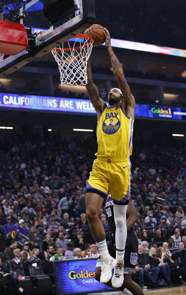 Golden State Warriors center Willie Cauley-Stein goes up to stuff against the Sacramento Kings during the first quarter of an NBA basketball game in Sacramento, Calif., Monday, Jan. 6, 2020. (AP Photo/Rich Pedroncelli)