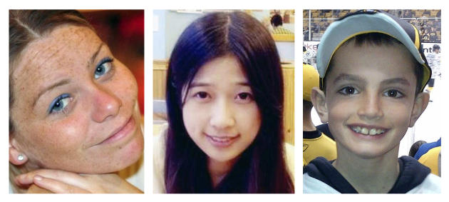 (L-R) Krystle Campbell, 29, Lu Lingzi, a Boston University graduate student from China, and Martin Richard, 8, who were killed in the bombings near the finish line of the Boston Marathon on April 15, 2013, in Boston. More than 260 others were injured in the blasts. Opening statements are scheduled Wednesday, March 4, 2015, in the federal death penalty trial of Dzhokhar Tsarnaev for allegedly conspiring with his brother to place twin bombs near the finish line of the race. (AP Photo)