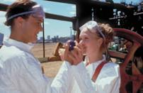 """The romantic comedy stars Julia Styles and Heath Ledger, who play Kat and Patrick. The film is known for the speech that Kat emotionally delivers: """"But mostly, I hate the way I don't hate you, not even close… not even a little bit… not even at all"""". Afterwards there's a paintball scene when they kiss in the middle of a paintball fight. Tucked away, lying on some hay bales, Patrick kisses Kat whilst she's lying down, both are covered head to toe in multicoloured paint. In an interview with 'Cosmopolitan' magazine, Styles revealed: """"It was actually my first on screen kiss."""""""