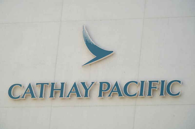 Sign of Cathay Pacific is seen at its headquarters Cathay City in Hong Kong