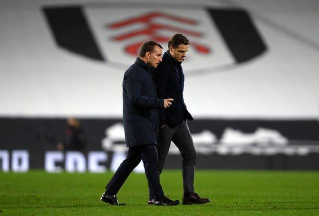 Brendan Rodgers chats to Scott Parker after the game