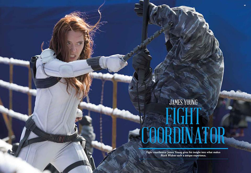 An interior spread from Marvel Studios'© Black Widow: The Official Movie Special Book (Titan Comics)