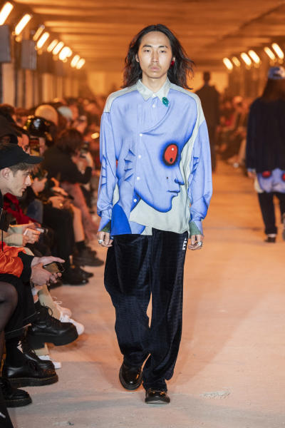 The Etudes collection was all laid-back elegance and fluidity, like this silk shirt with a print referencing the 1973 science-fiction animation classic 'Fantastic Planet.' Paris, January 15, 2020.