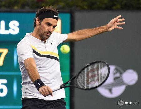 Mar 15, 2018; Indian Wells, CA, USA; Roger Federer (SUI) in his quarterfinal match against Hyeon Chung (not pictured) in the BNP Paribas Open at the Indian Wells Tennis Garden. Mandatory Credit: Jayne Kamin-Oncea-USA TODAY Sports