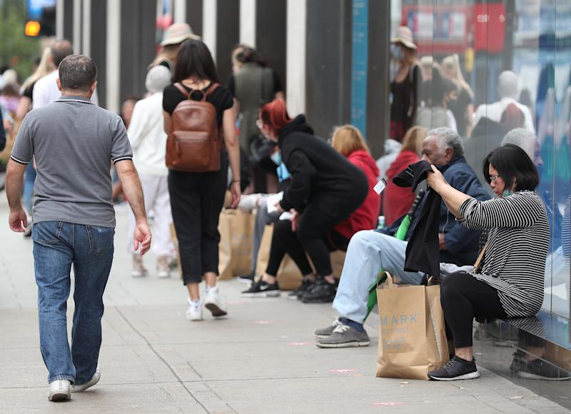 Shoppers outside Primark on Oxford Street, London, as non-essential shops in England open their doors to customers for the first time since coronavirus lockdown restrictions were imposed in March. (Photo by Yui Mok/PA Images via Getty Images)