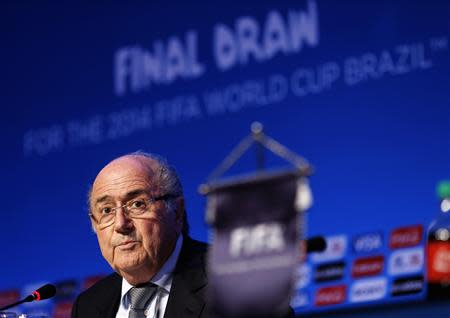 Blatter speaks during a news conference in Sao Joao da Mata