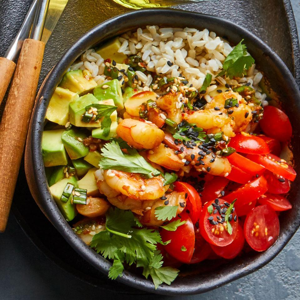 <p>Not a fan of raw fish? No problem--this poke (pronounced poke-ay) recipe substitutes cooked peeled shrimp instead. This fast, veggie-loaded dish includes seasoned brown rice for a hearty boost of fiber.</p>