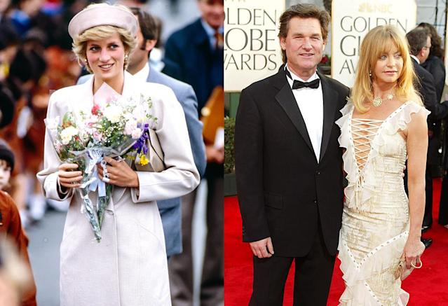 "<p>Diana met Russell in 1991 at the London premiere of his movie <i>Backdraft</i>, and, over the course of the evening, offered to shield her from the paparazzi at his Colorado property, if she ever needed it. ""I said, 'Come over to the ranch. We have a good long driveway and it's hard for the paparazzi to get in there,"" the actor recalled on Australia's <i>The Project</i> in January 2016. ""Years later Fergie [Duchess of York], who Goldie knows, worked it out. I guess Diana wanted to come and stay with the boys and they were welcomed, so they came and <a href=""http://www.dailymail.co.uk/femail/article-3405166/Kurt-Russell-reveals-Princess-Diana-used-home-safe-haven-Princes-William-Harry.html"" rel=""nofollow noopener"" target=""_blank"" data-ylk=""slk:stayed for 10 days at the ranch"" class=""link rapid-noclick-resp"">stayed for 10 days at the ranch</a> and had a great time."" Russell wasn't home during their stay, but noted that Diana became ""very close"" with his housekeeper and sent her a Christmas card every year afterward. (Photo: Getty Images) </p>"