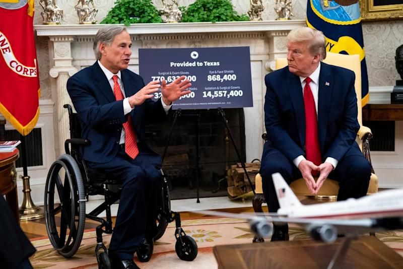 Greg Abbott with Trump at the White House on Thursday.