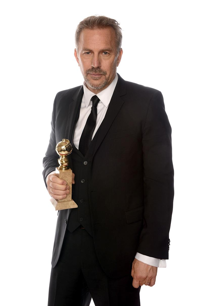 BEVERLY HILLS, CA - JANUARY 13: Actor Kevin Costner, winner of Best Actor in a Mini-Series or a Motion Picture Made for Television for 'Hatfields & McCoys', poses for a portrait at the 70th Annual Golden Globe Awards held at The Beverly Hilton Hotel on January 13, 2013 in Beverly Hills, California. (Photo by Dimitrios Kambouris/Getty Images)