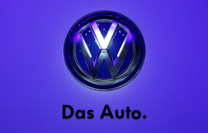FILE PHOTO: The Volkswagen logo is seen at the Frankfurt Motor Show in Frankfurt