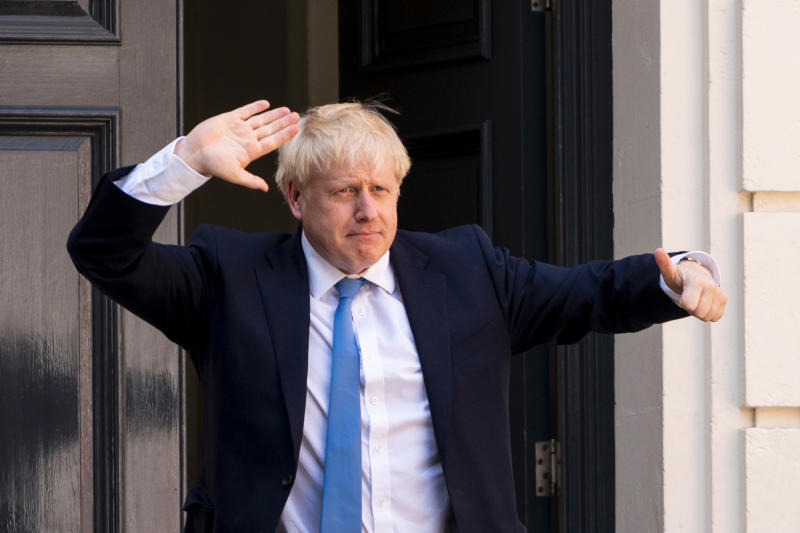 New Conservative Party leader and incoming prime minister Boris Johnson arrives at the Conservative party headquarters in central London on July 23, 2019. - Boris Johnson won the race to become Britain's next prime minister on Tuesday, heading straight into a confrontation over Brexit with Brussels and parliament, as well as a tense diplomatic standoff with Iran. (Photo by LEON NEAL / AFP) (Photo credit should read LEON NEAL/AFP/Getty Images)