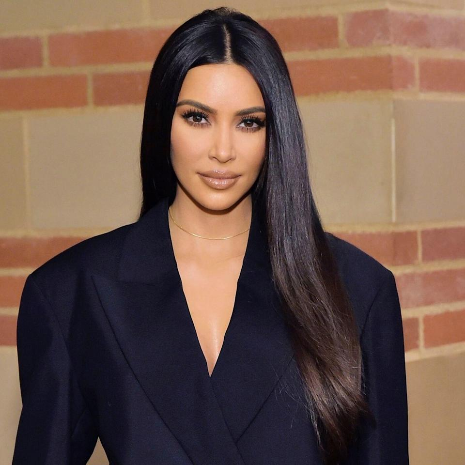 """<a href=""""https://www.allure.com/topic/kim-kardashian?mbid=synd_yahoo_rss"""" rel=""""nofollow noopener"""" target=""""_blank"""" data-ylk=""""slk:Kim Kardashian"""" class=""""link rapid-noclick-resp"""">Kim Kardashian</a> is the queen of the one-length style, whether it's long as it is here or snipped into a short bob. <a href=""""https://www.allure.com/story/in-common-hair-care-nine-zero-one-founders?mbid=synd_yahoo_rss"""" rel=""""nofollow noopener"""" target=""""_blank"""" data-ylk=""""slk:Riawna Capri"""" class=""""link rapid-noclick-resp"""">Riawna Capri</a>, hairstylist and co-founder of Nine Zero One Salon, says this look is more modern than one with tons of beachy texture. """"The 2020 trend is all about structure. Out with the [tousled] texture, in comes polished structure,"""" she says. """"We're seeing [more] shine versus matte hairsprays. More blunt thick lines in haircuts instead of shattered textured haircuts."""""""