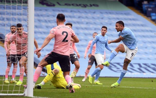 Gabriel Jesus fires home the winning goal from close range