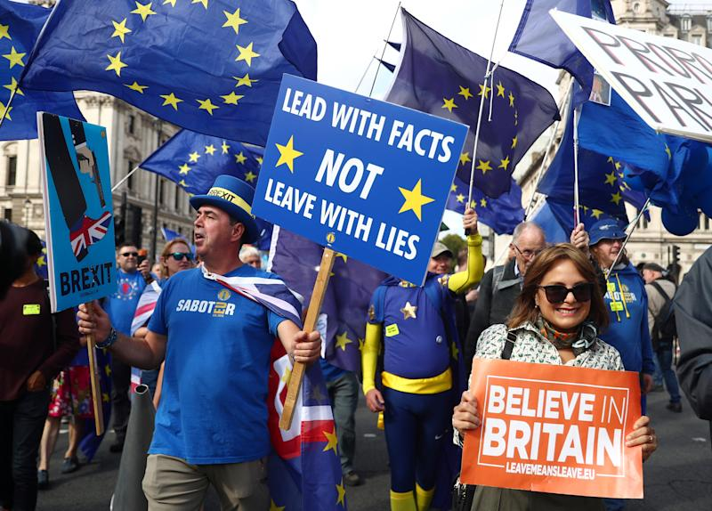 Anti-Brexit protester Steve Bray walks next to a pro-Brexit protester during a demonstration at Westminster, in London, Britain September 3, 2019. REUTERS/Hannah McKay