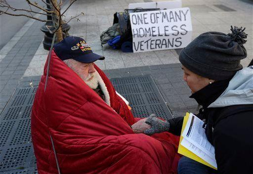 """Ultimately, battling homelessness needs to be a sustained, long-term effort. <br> <br> """"We shelter people when it gets really, really cold,"""" Stoops said. """"But it should be a year-round thing. I wish Americans would think of homeless people during the warmer months... We can lose as many people during the warmer months than the winter."""" <br> <br> Some parts of the U.S. can get dangerously hot during the summer months, which can put vulnerable communities at considerable risk of a whole slew of heat-related health problems, including heat stroke and dehydration. <br> <br> According to Stoops, volunteering also spikes during the holiday season and is not """"consistent"""" through the year. <br> <br> """"Around Thanksgiving and Christmas, there are so many volunteers that sometimes we have to turn them away,"""" Stoops said. """"But if I ask them if I can sign them up for a shift in the soup kitchen on Feb. 15 or Aug. 1, they get very quiet. Very few people can think about homelessness throughout the year but I'd encourage people to be consistent and to volunteer on a regular basis."""" <br> <br> Experts say that while short-term help is crucial and cannot be overlooked, fighting homelessness is a long-term process. <br> <br> """"Giving out blankets and sandwiches"""" is great, Stoops said, but to tackle homelessness in a holistic way, we also need to think about """"attacking the root causes of poverty."""" <br> <br> For instance, """"we need to focus…on increasing minimum wage, making housing affordable, improving health care and pushing public officials and religious leaders to tackle inequality and poverty,"""" he said. <br> <br> <em>(In the Nov. 20, 2013, photo above, homeless Korean War veteran Thomas Moore, 79, left, speaks with Boston Health Care for the Homeless street team outreach coordinator Romeena Lee on a sidewalk in Boston.)</em>"""
