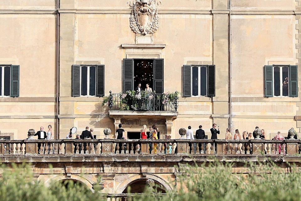 Guests attend the Lady Kitty Spencer and Michael Lewis wedding at Villa Aldo Brandini on July 24, 2021 in Frascati, Italy.