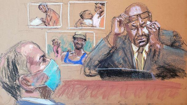 PHOTO: Philonise Floyd speaks about his brother as he answers questions on the eleventh day of the trial of former Minneapolis police officer Derek Chauvin, left, in the death of George Floyd in Minneapolis, April 12, 2021, in this courtroom sketch. (Jane Rosenberg via Reuters)