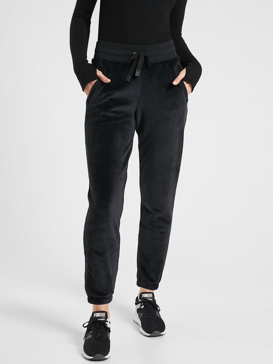 <p>Velour joggers are back, and the cozy <span>Athleta Double Cozy Karma Recover Jogger</span> ($98) is a total must.</p>