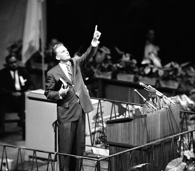 "<p>Billy Graham addresses Madison Square Garden in New York on May 15, 1957, to open his crusade for ""A Spiritual Revolution in the City."" (Photo: AP) </p>"