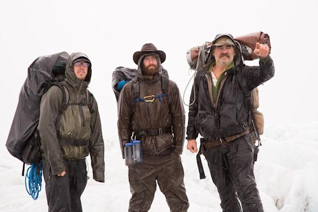 Triumvirate Glacier, Alaska: Brent Sass, Matt Raney and Marty Raney crossing the glacier in the rain.