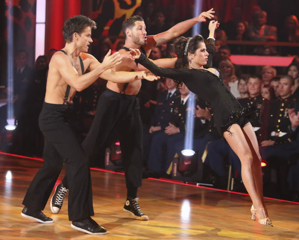 "Louis Van Amstel, Valentin Chmerkovskiy and Kelly Monaco perform on ""Dancing With the Stars: All-Stars."""