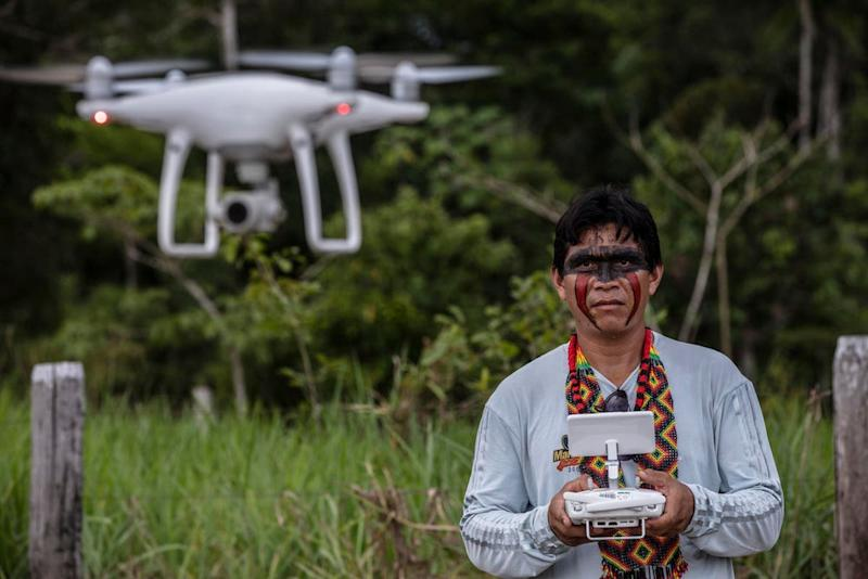 Ismael Menezes Brandão of the Siã Shanenawa people takes part in drone training Porto Velho, Rondônia, Brazil: WWF-UK