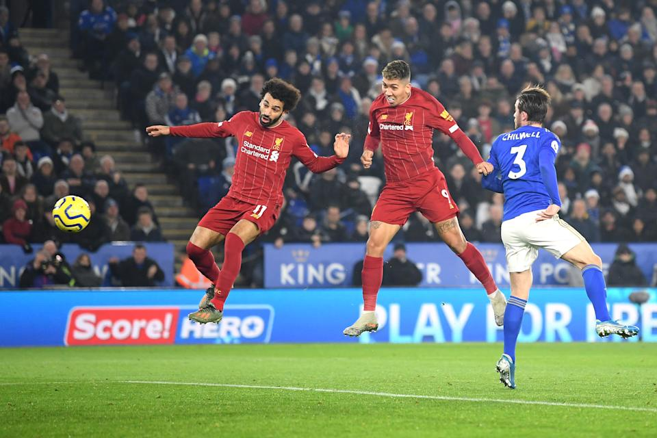 LEICESTER, ENGLAND - DECEMBER 26: Roberto Firmino of Liverpool  scores his team's first goal during the Premier League match between Leicester City and Liverpool FC at The King Power Stadium on December 26, 2019 in Leicester, United Kingdom. (Photo by Michael Regan/Getty Images)
