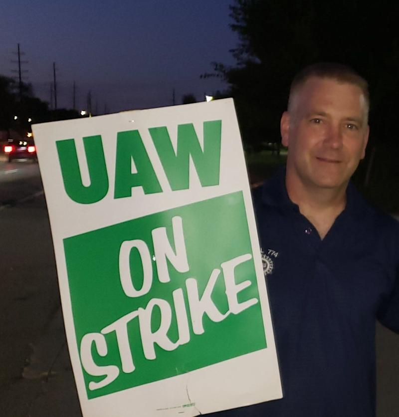 Patrick Anderson on the picket line in Warren, Michigan, on Sept. 17, 2019.