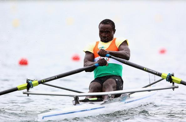 WINDSOR, ENGLAND - JULY 31:  Hamadou Djibo Issaka of Nigeria competes in the Men's Single Sculls on Day 4 of the London 2012 Olympic Games at Eton Dorney at Eton Dorney on July 31, 2012 in Windsor, England.  (Photo by Michael Steele/Getty Images)