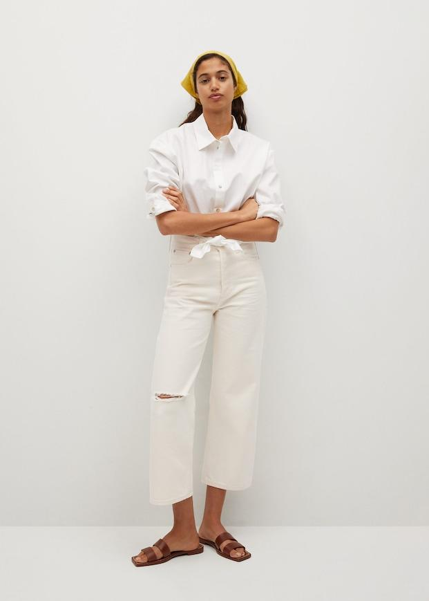 Wide leg high waist jeans. Image via Mango.