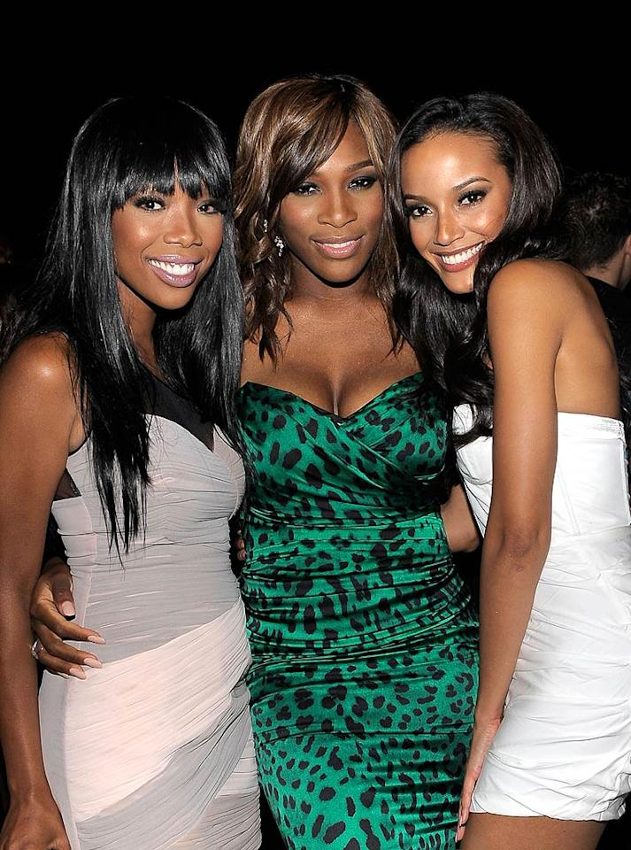 "Wearing a Dolce & Gabbana satin dress, tennis star Serena Williams popped a pose with singer Brandy and model Selita Ebanks at the pre-ESPYs party she hosted in Hollywood on Monday. Charley Gallay/<a href=""http://www.gettyimages.com/"" target=""new"">GettyImages.com</a> - July 12, 2010"