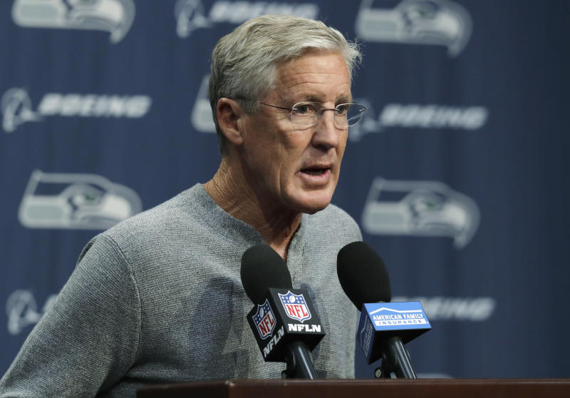 Seattle Seahawks NFL football head coach Pete Carroll talks to reporters Tuesday, Oct. 16, 2018, at Seahawks headquarters in Renton, Wash. Carroll spent most of his weekly press conference talking about team owner Paul Allen, who died Monday, Oct. 15, 2018 in Seattle. (AP Photo/Ted S. Warren)