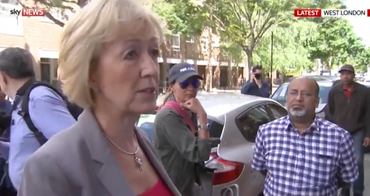 Angry Grenfell residents confront Andrea Leadsom