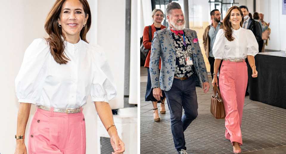 Denmark's Crown Princess Mary on her way to speak at an an international LGBTQI+ forum