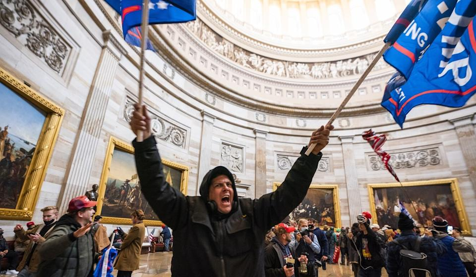 Trump supporters in the Capitol Rotunda after breaching security in Washington on Wednesday. Photo: EPA-EFE