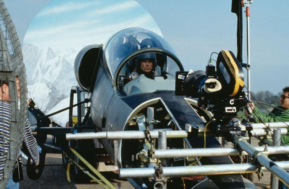 <p>Pierce Brosnan filming a scene in a fake L-39 Albatros for the opening sequence of the James Bond film 'Tomorrow Never Dies', 1997. </p>