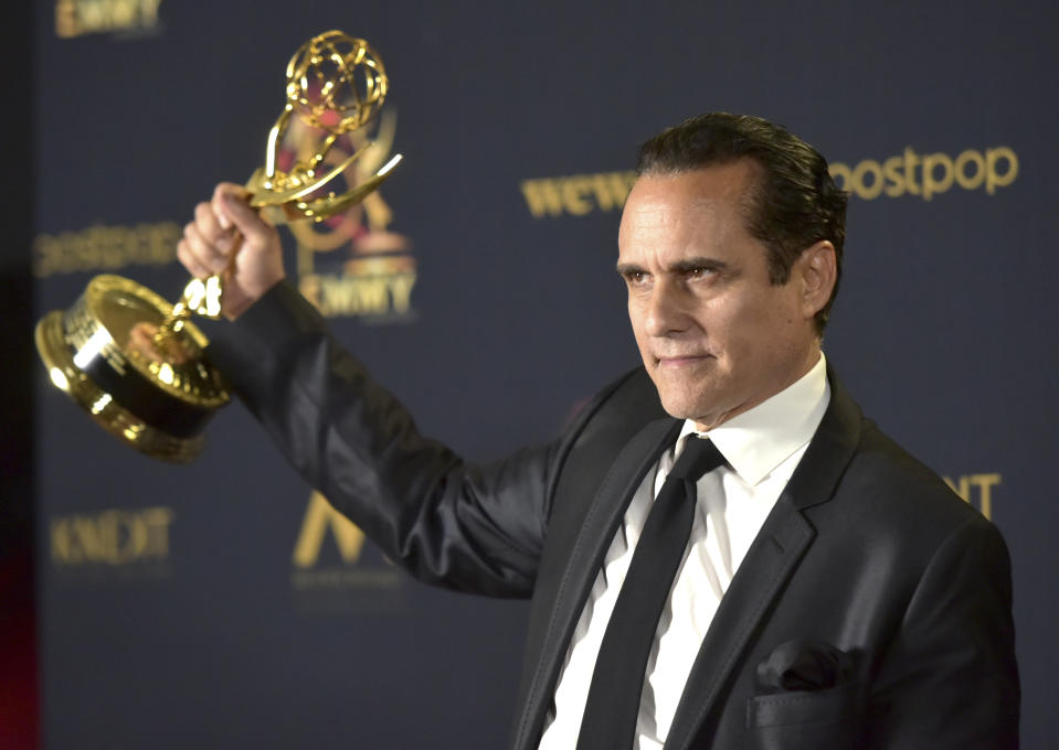 """Maurice Benard poses in the press room with the award for outstanding lead actor in a drama series for """"General Hospital"""" at the 46th annual Daytime Emmy Awards at the Pasadena Civic Center on Sunday, May 5, 2019, in Pasadena, Calif. (Photo by Richard Shotwell/Invision/AP)"""