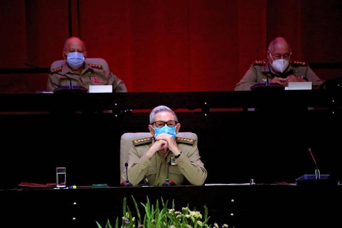 Ra & # xfa; l Castro at the opening ceremony of the Cuban Communist Party Congress in Havana on Friday, April 16, 2021.