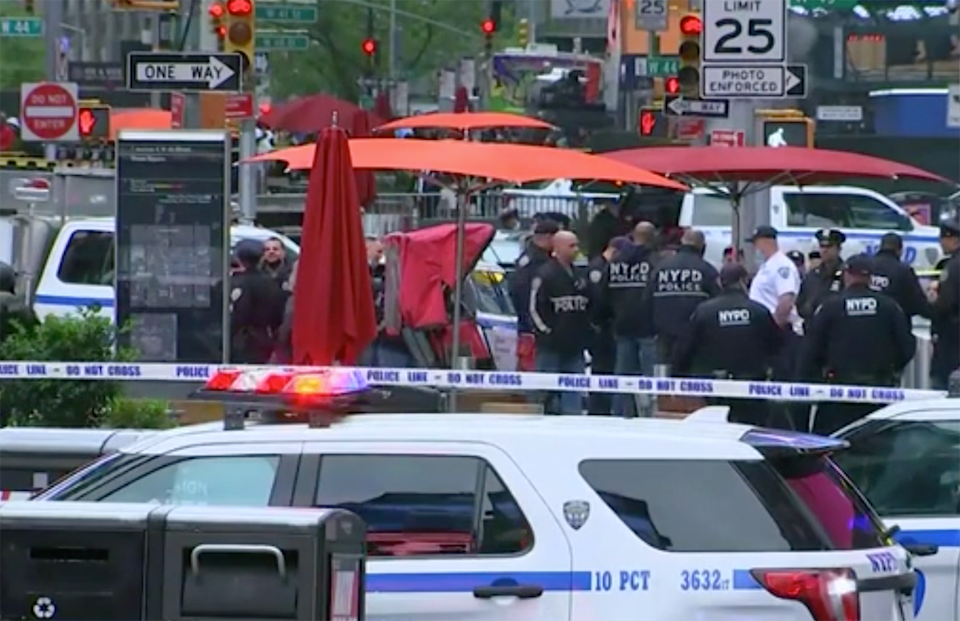 Police in Times Square after shooting.